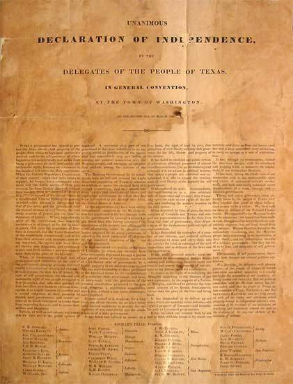 The Texas Declaration of Independence was the formal declaration of independence of the Republic of Texas from Mexico in the Texas Revolution. It was adopted at Washington-on-the-Brazos, Texas on 2 Mar 1836.