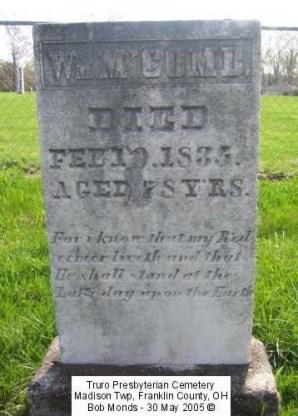 William McComb grave marker - Truro Presbyterian Cemetery, Madison Township, Franklin County, Ohio