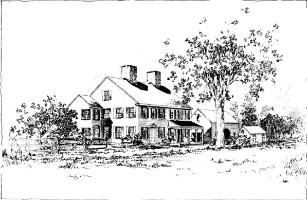 "A sketch of the Cogswell House in Ipswich, Massachusetts from ""Alice Cogswell Bemis: A Sketch by a Friend"", Author: Anonymous, printed 1920. The home was built on the Cogswell property in 1728 on the site of an earlier house."