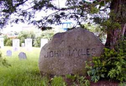 John Myles' stone at Tyler's Point, Warren, Rhode Island (formerly part of Swansea, Massachusetts)