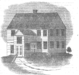 "Meeting House of the First Baptist Church of Swansea (from ""History of the First Baptist Church of Swansea, Massachusetts"" By Rev. Arial Fisher, Pastor. The Baptist Memorial and Monthly Record, 1845."