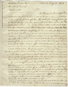 In this letter, Paul Revere writes to William Eustis, a member of Congress from Massachusetts, in support of a military pension for Deborah Sampson Gannett, who served in the Continental Army for seventeen months during the American Revolution disguised as a man.