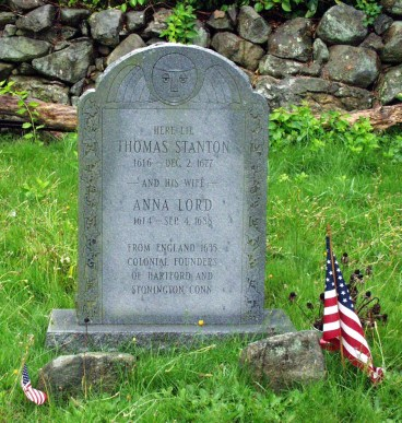 Thomas Stanton and Anna Lord grave marker (new stone) - Wequetequock Cemetery, Stonington, Connecticut