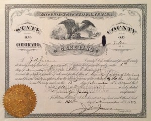 Certification of Allen T. Gunnell's election to the office of Lake County Judge, 6 Nov 1883