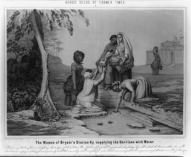 Depiction of the women of Bryan Station getting water while Native Americans, who are about to besiege the settlement, watch.  This famous event occurred in Kentucky during the American Revolutionary War. (Library of Congress: Print by Nagel & Weingartner, 1851)