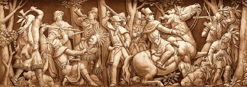 The death of Tecumseh at the Battle of the Thames (1813) is depicted in the Frieze of United States History located around the base of the inside of the U. S. Capital dome.