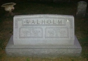 This monument marks the remains of George V. Walholm (1862-1950) & Ella Tuveson Walholm (1865-1937); the grave marker for their son, Elmer Leonard Walholm (1889-1934) is visible in the upper right-hand corner - Linwood Cemetery, Galesburg, Illinois, Block 42, Lot 1, Grave N 1/2 (photo credit: Ryne Sage, taken August 2013)
