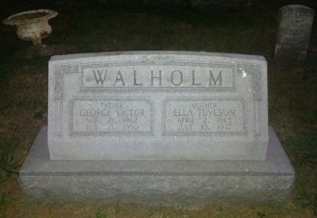 This monument marks the remains of George V. Walholm (1862-1950) & Ella Tuveson Walholm (1865-1937); the grave marker for their son, Elmer Leonard Walholm (1889-1934) is visible in the upper right-hand corner - Linwood Cemetery, Galesburg, Illinois, Block 42, Lot 1, Grave N 1/2 (photo credit: Supah Sage, taken August 2013)