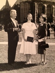 Penny Walhom and parents - Emma Willard commencement, 1958