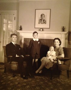 Roy W., Rusty, Penny & Florence Walholm. Photo taken 26 Sep 1940 (Penny's 1st birthday), 356 Fairview Avenue, Winnetka, Illinois