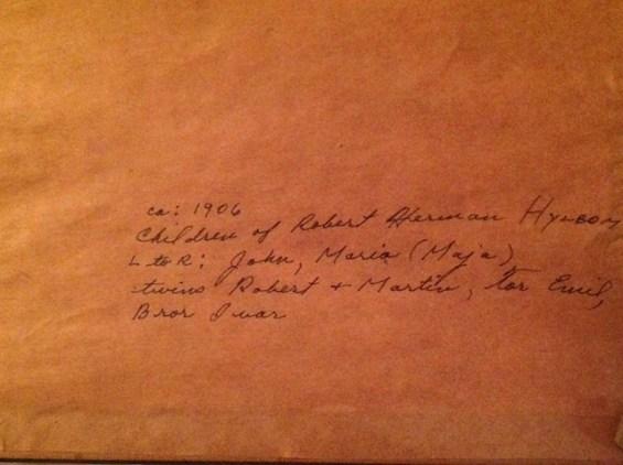 Details written on back of 1906 photo: Children of Robert Herman Hylbom