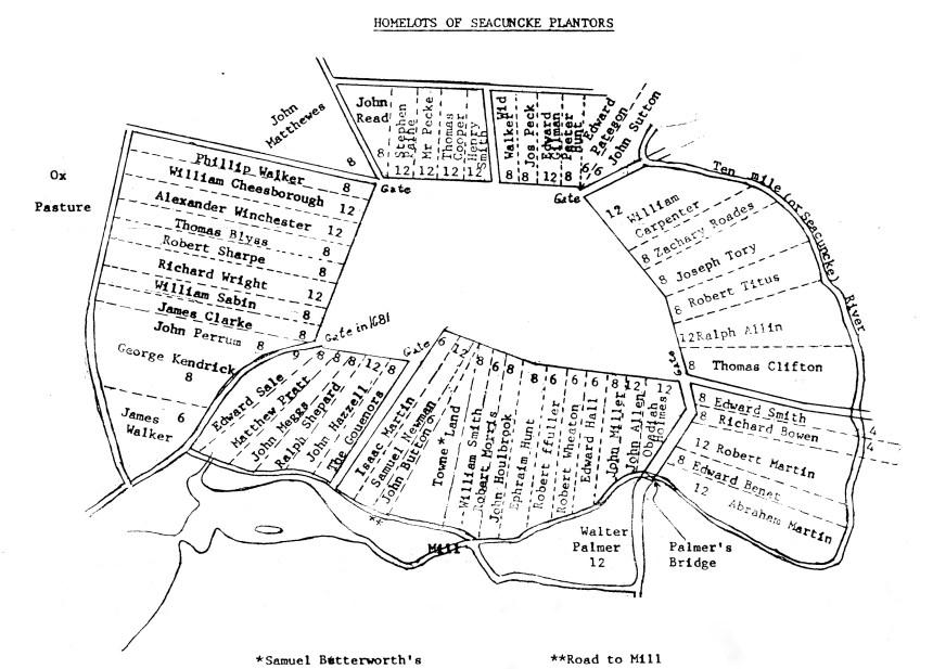 """Homelots of Seacunke"": This map is from the Blanding Public Library in Rehoboth and shows the original Ring of the Green now located in Rumford, RI (near East Providence). This map is from the Blanding Public Library in Rehoboth and shows the original Ring of the Green now located in Rumford, RI (near East Providence)."