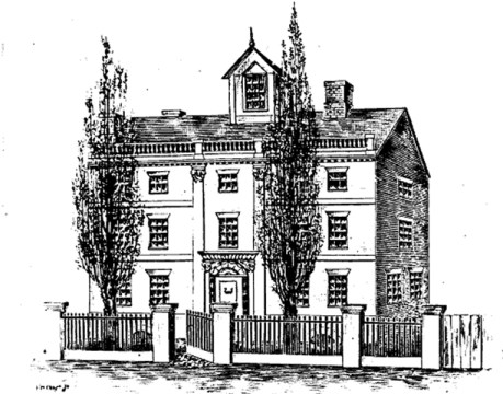 Home of Reverand John & Tamisen Mayo in Boston - 1656; later this was the home of Cotton Mather (1663-1728) - from A Historical Sketch of Rev. John Mayo by Anna Kingsbury (W. E. Nickerson) 1923, p. 8a.