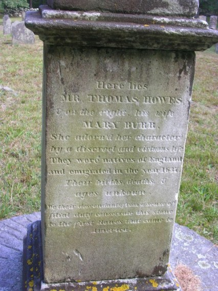 This monument marks the final resting place of Thomas and Mary (Burr) Howes (Howes Cemetery, Dennis, Barnstable, Massachusetts).