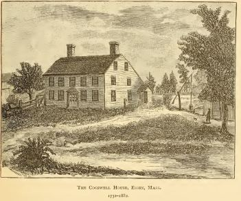 """The Cogswell House, Ipswich, Massachusetts (from """"Cogswells in America"""" by Jameson, 1884, p. 5)"""