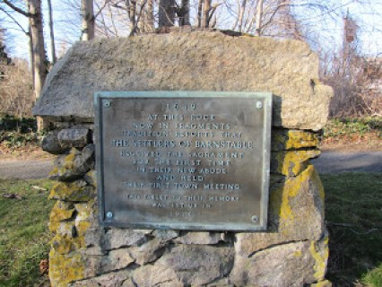 Sacrament Rock is the site at which the Christian sacrament of communion took place for the first time in the town of Barnstable, Massachusetts (Route 6A).