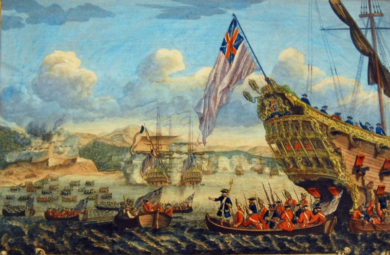 The siege of Louisbourg, the most powerful fortress in French America (1758).