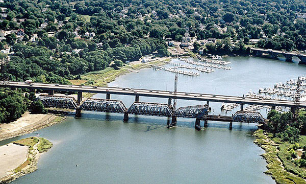 This bridge spans the Housatonic River somewhere near the site where Moses Wheeler once piloted the ferry.