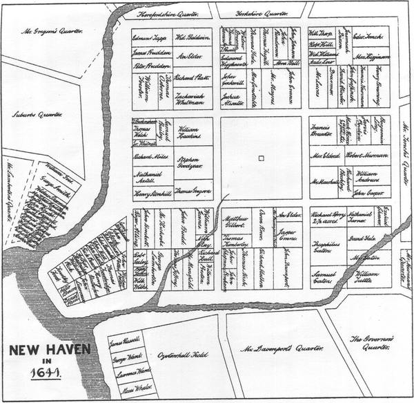 Map of early New Haven, Connecticut (1641 division of land). Wheeler's allotment is in the lower left-hand corner of the map.