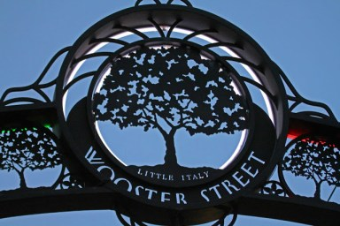 Wooster Street archway decorated with an Elm Tree, a symbol of New Haven, Connecticut