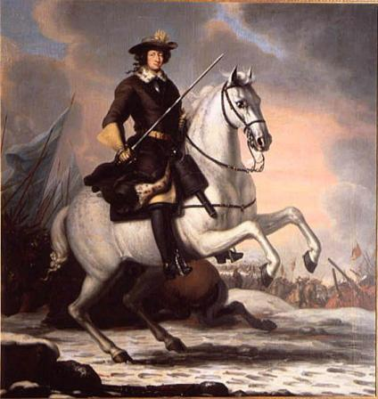 Charles XI at the Battle of Lund in 1676. Charles XI introduced the new Allotment System. (Painting by David Klöcker Ehrenstrahl, 1682).