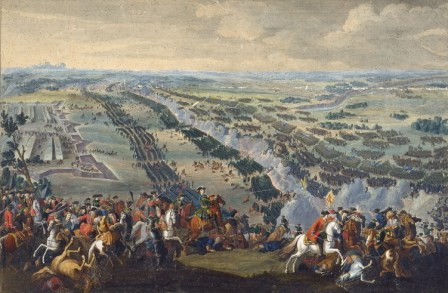The Battle of Poltava in 1709, drawing by Denis Martens (1726)