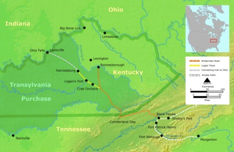 """American pioneer Daniel Boone established the Wilderness Road going through the Cumberland Gap into central """"Kentuckee"""", where he founded Boonesborough, the designated capital of the Transylvania colony.  The colony officially ceased to exist after the Virginia General Assembly invalidated the Transylvania Company's purchase in 1776."""