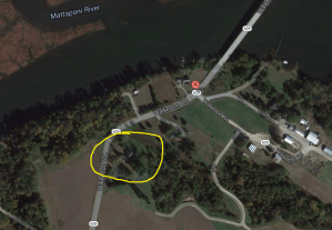 "The location of the Waller ""Endfield"" property (1700 block of Walkerton Road, Walkerton, Virginia) is circled in yellow."