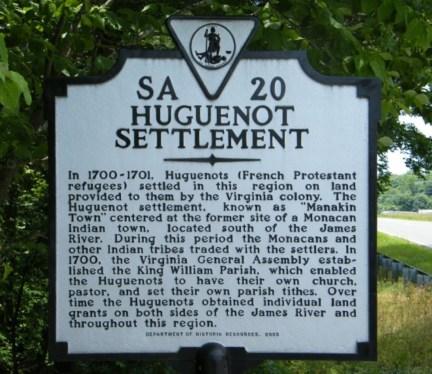 Virginia State Highway marker - found near Bocobel Ferry Road on State Route 6 near Manakin (west of Richmond) - photo credit: Gresham Farrar, October 2013