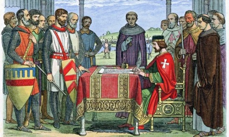 A woodcut from 1864 depicts King John and the barons at Runnymede. Photograph: Universal History Archive/Un/REX