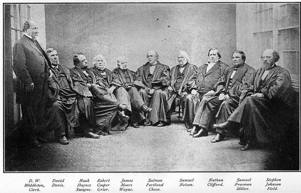 U.S. Supreme Court under Chief Justice Samuel P. Chase. The Chase court presided over many important decisions during Radical Reconstruction following the Civil War. Daguerreotype, 1868. Public domain.