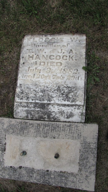 Flossie W. Hancock (1861-1882), my 2nd g-grand aunt - photo credit: Tombstone Tracker