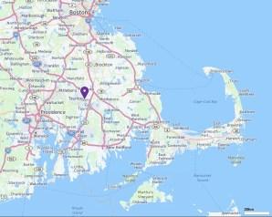 Taunton, on a map of southeastern Massachusetts