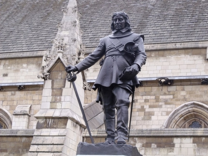 Oliver Cromwell statue at the Palace of Westminster, London