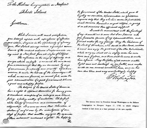 The Letter From George Washington to the Hebrew Congregation in Newport, Rhode Island, 21 Aug 1790