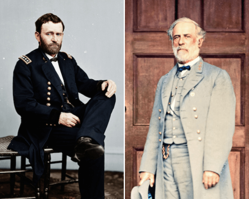 Ulysses S. Grant commanded the Union Armies to victory over the Confederacy in the American Civil War. Robert E. Lee commanded the Confederate Army of Northern Virginia from 1862 until his surrender in 1865.