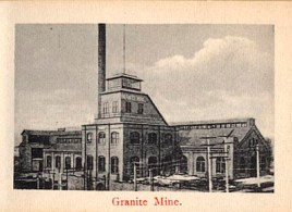 "Photo is part of a ""flip book"" containing 12 photographs. This is photo 2 of 12. Shows Granite Mine with buildings and smokestack. Electric poles are present. Red ink at bottom of photo reads: ""Granite Mine."" (http://cripplecreekmuseum.com/cgi-bin/photograph.cgi?id=2000127B)"