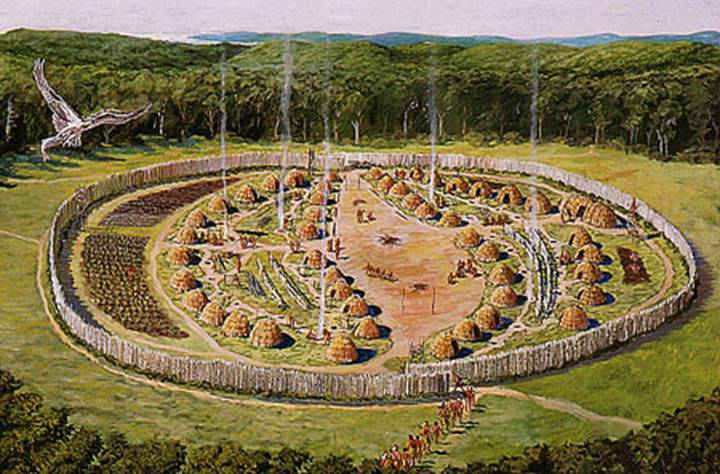 An artist's rendering of the Pequot village and fortifications at Mystic, Connecticut