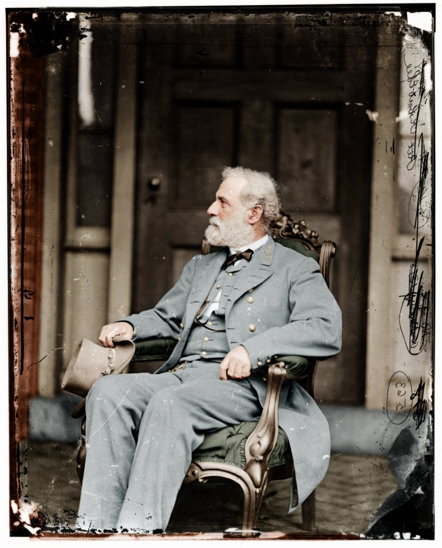 Confederate General Robert E. Lee at his home in Richmond, Va. less than a week after surrendering (Color by Reddit User Zuzahin/Photo Courtesy of Library of Congress)