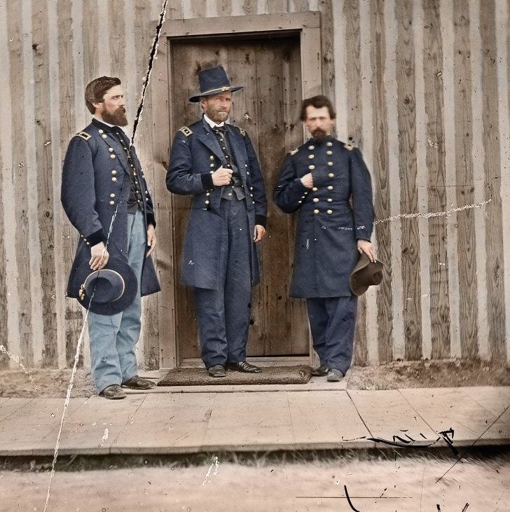 This photo depicts President Ulysses S. Grant (pictured in the center, at the time a lieutenant general), his friend Brigadier General John Rawlins (left), and an unknown lieutenant colonel in 1865. (Color by Reddit User Zuzahin/Photo Courtesy of National Archives)