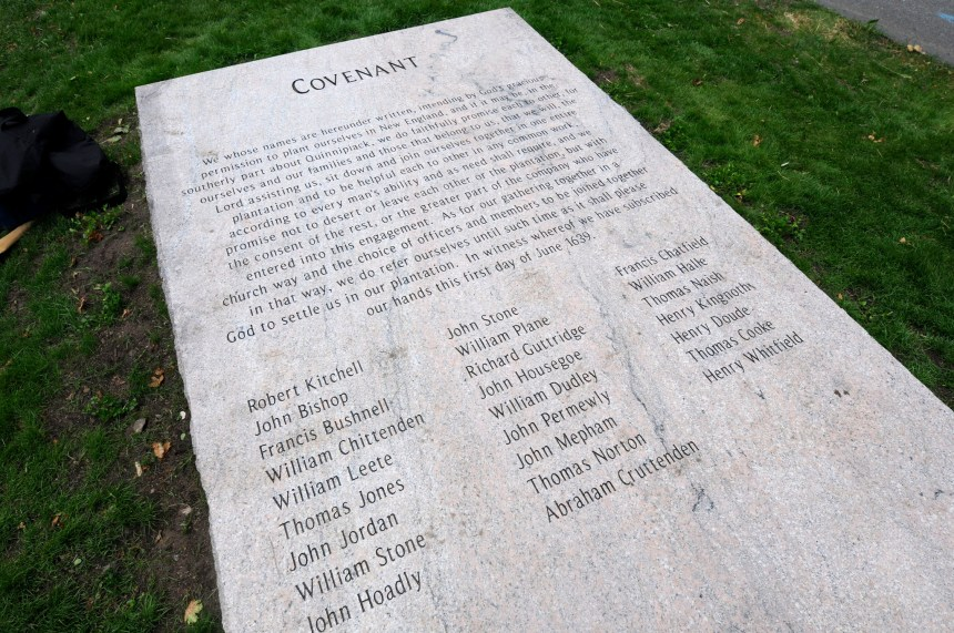 The Covenant the first settlers signed while sailing from England to the New World June 1, 1639. The monument was dedicated in Guildford, Connecticut on 7 Jun 2014 to mark the 375th anniversary of the Covenant. (photo credit: Michael McAndrews, Hartford Courant, 7 Jun 2014)
