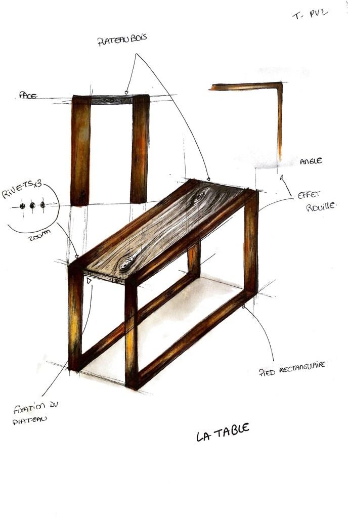 Table industrielle design