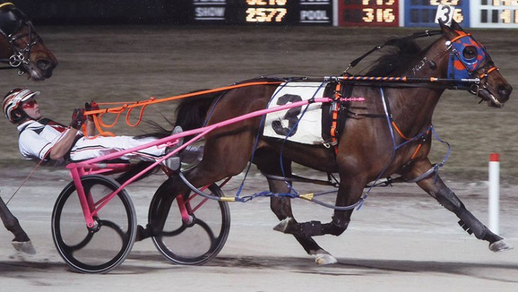 Kaydon Begone winning a race at Maywood Park on March 16, 2012