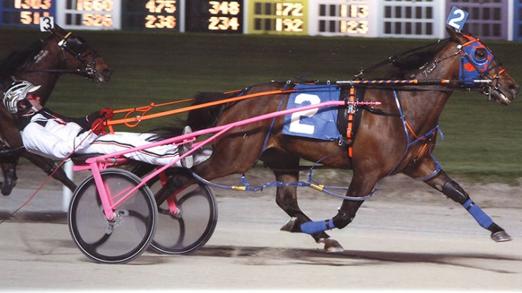 Kaydon Begone winning a race at Maywood Park on March 30, 2012