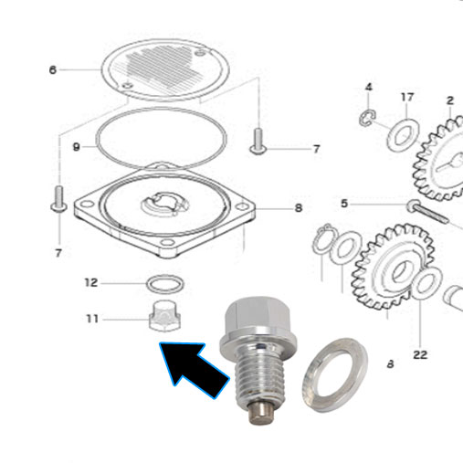 Oil Drain Plug [CNC Magnetic Sump Bolt] - Hyosung GV125S Injected EFi