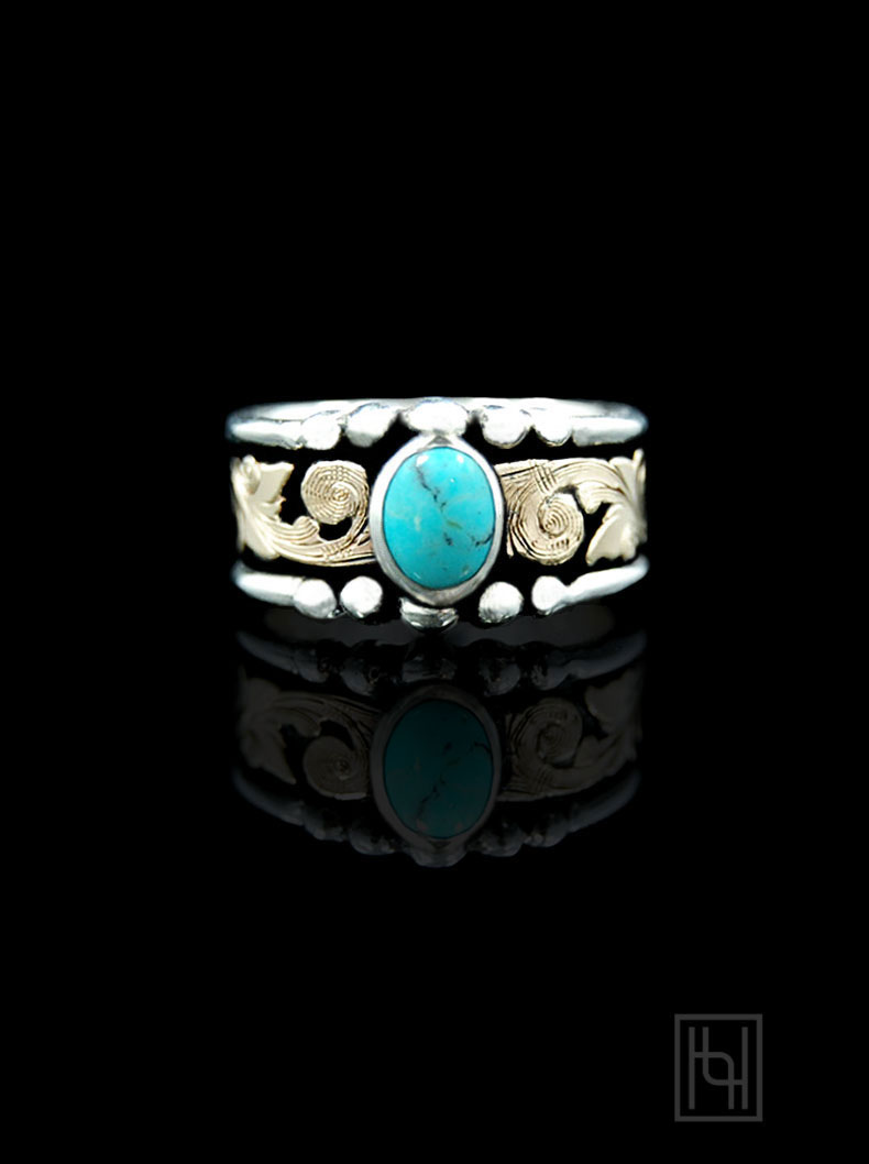 Western Turquoise Ring Hyo Silver