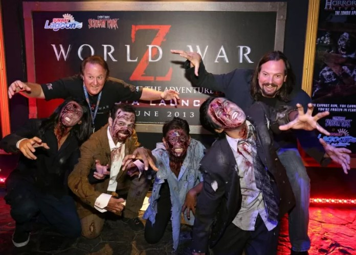 Bill Holman, Consultan Director of Sunway Lagoon (R) along with Edward F Michitsch, Executive Vice President of Sudden Impact! Entertainment with the Zombies (1)