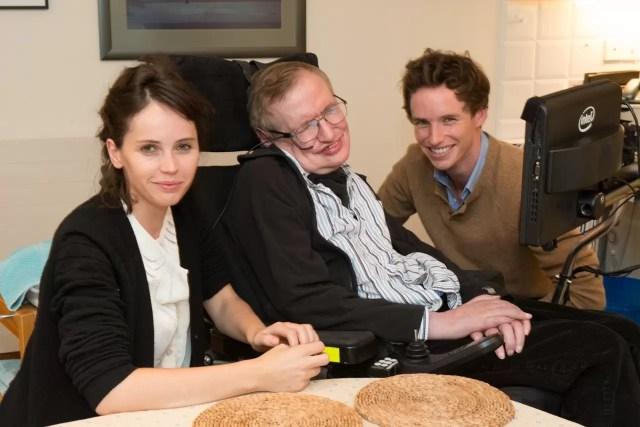 Felicity Jones (who will play Jane Wilde), Stephen Hawking, & Eddie Redmayne (who will play Stephen Hawking)