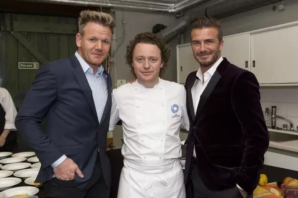 David Beckham and Gordon Ramsey with chef Tom Kitchin at the global launch of Haig Club™ in Scotland