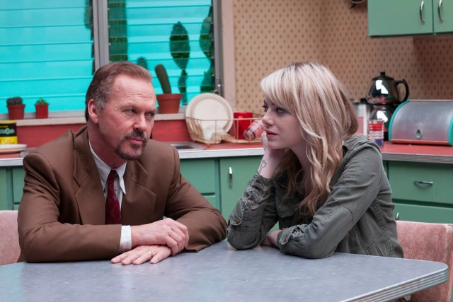 Michael Keaton and Emma Stone